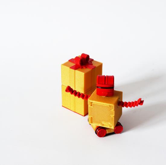 robot z pudelkiem 3D